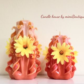 Set 1 - Medium and small carved candles