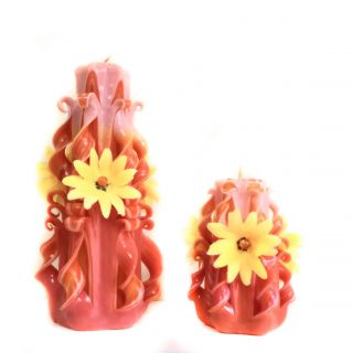 Set 13 - Large and small carved candles